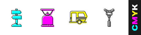 Set Road traffic signpost, Camping gas stove, Rv trailer and Sausage on the fork icon. Vector 向量圖像