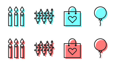 Set line Shopping bag with heart, Birthday cake candles, Christmas lights and Balloon with ribbon icon. Vector