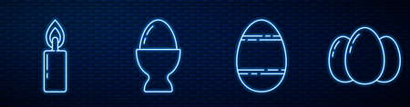 Set line Easter egg, Burning candle, Easter egg on a stand and Easter eggs. Glowing neon icon on brick wall. Vector