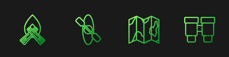 Set line Location of the forest on map, Campfire, Kayak canoe and Binoculars. Gradient color icons. Vector