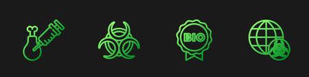 Set line Label for bio healthy food, Gmo research chicken, Biohazard symbol and GMO. Gradient color icons. Vector