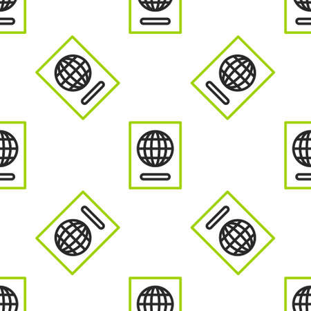 Line Passport with biometric data icon isolated seamless pattern on white background. Identification Document. Vector Illustration