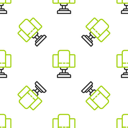 Line Director movie chair icon isolated seamless pattern on white background. Film industry. Vector Illustration