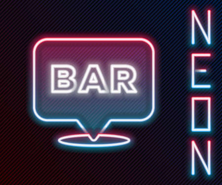 Glowing neon line Alcohol or beer bar location icon isolated on black background. Symbol of drinking, pub, club, bar. Colorful outline concept. Vector 矢量图像