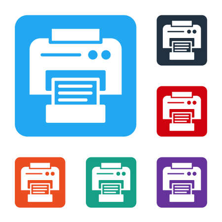 White Printer icon isolated on white background. Set icons in color square buttons. Vector Illustration 矢量图像