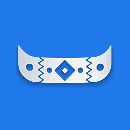 Paper cut Kayak and paddle icon isolated on blue background. Kayak and canoe for fishing and tourism. Outdoor activities. Paper art style. Vector  イラスト・ベクター素材