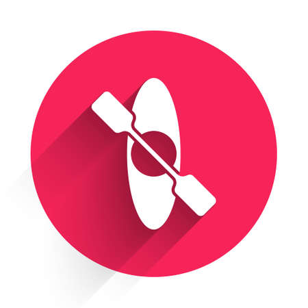 White Kayak and paddle icon isolated with long shadow. Kayak and canoe for fishing and tourism. Outdoor activities. Red circle button. Vector
