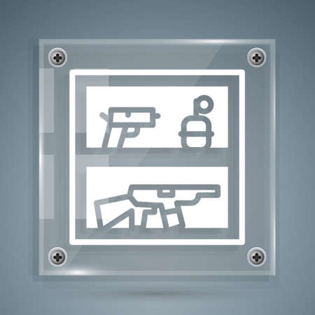 White Hunting shop with rifle and gun weapon icon isolated on grey background. Supermarket or store with weapon equipment. Square glass panels. Vector