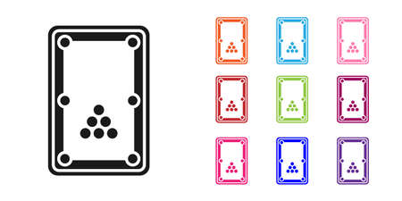 Black Billiard table icon isolated on white background. Pool table. Set icons colorful. Vector Vector Illustratie