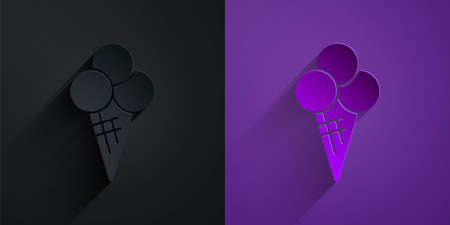 Paper cut Ice cream in waffle cone icon isolated on black on purple background. Sweet symbol. Paper art style. Vector 向量圖像