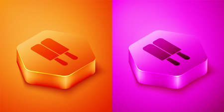 Isometric Ice cream on stick icon isolated on orange and pink background. Sweet symbol. Hexagon button. Vector