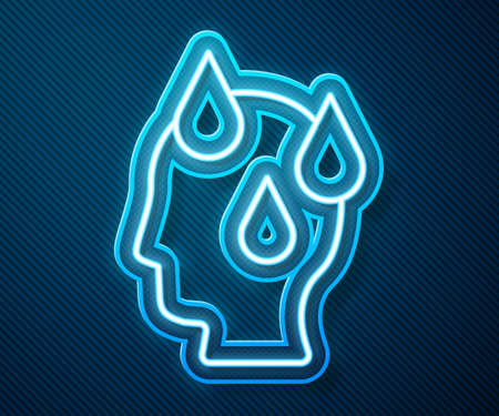 Glowing neon line High human body temperature or get fever icon isolated on blue background. Disease, cold, flu symptom. Vector