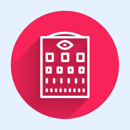 White line Eye test chart icon isolated with long shadow. Poster for vision testing in ophthalmic study. Snellen chart. Red circle button. Vector