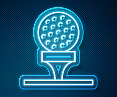 Glowing neon line Golf ball on tee icon isolated on blue background. Vector 矢量图像