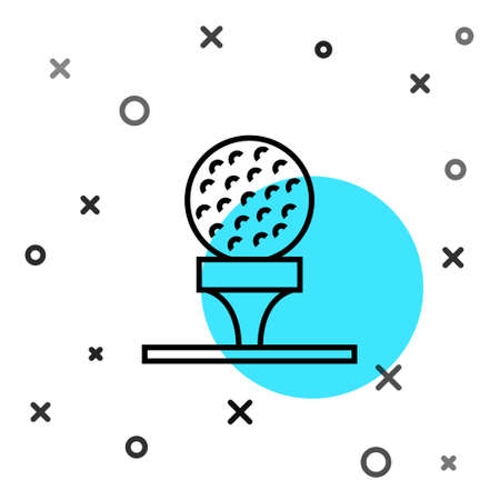 Black line Golf ball on tee icon isolated on white background. Random dynamic shapes. Vector 矢量图像