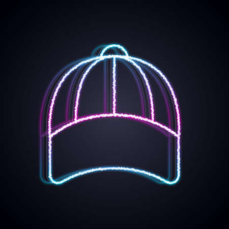 Glowing neon line Baseball cap icon isolated on black background. Sport equipment. Sports uniform. Vector 矢量图像