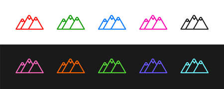 Set line Mountains icon isolated on black and white background. Symbol of victory or success concept. Vector 矢量图像