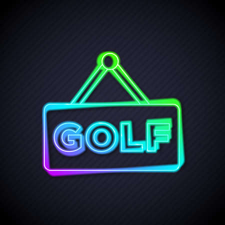 Glowing neon line Golf label icon isolated on black background. Vector 矢量图像