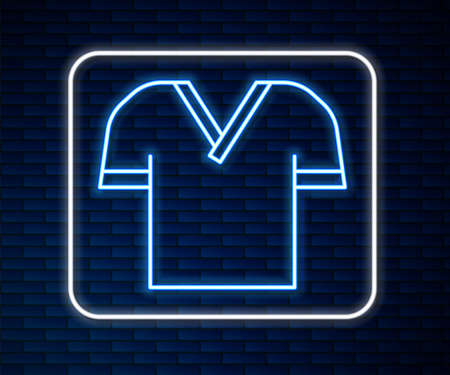 Glowing neon line Golf shirt icon isolated on brick wall background. Sport equipment. Sports uniform. Vector