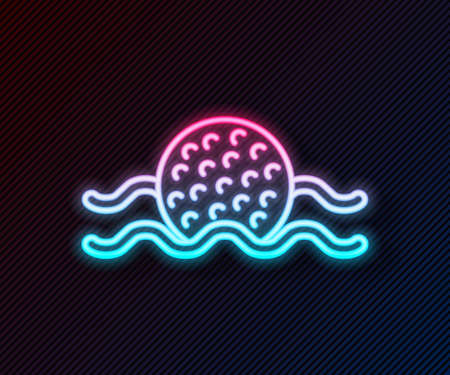 Glowing neon line Golf ball in water icon isolated on black background. Vector