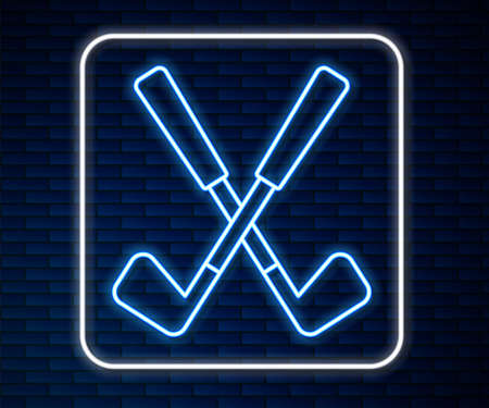 Glowing neon line Crossed golf club icon isolated on brick wall background. Vector 矢量图像