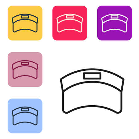 Black line Sun visor cap icon isolated on white background. Sport equipment. Sports uniform. Set icons in color square buttons. Vector 矢量图像