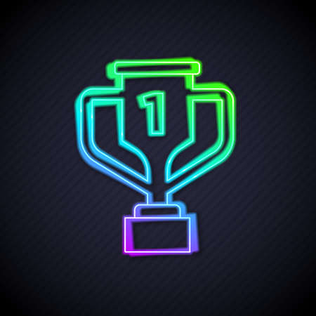 Glowing neon line Award cup with golf icon isolated on black background. Winner trophy symbol. Championship or competition trophy. Sports achievement sign. Vector 矢量图像