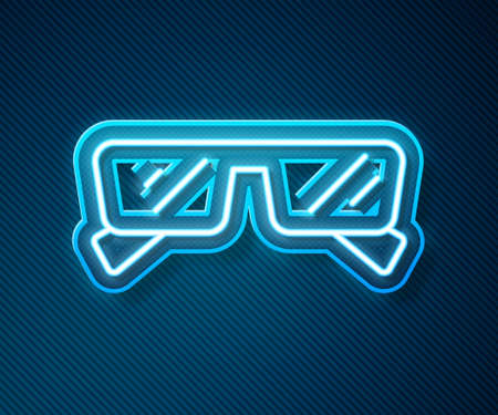 Glowing neon line Glasses icon isolated on blue background. Eyeglass frame symbol. Vector