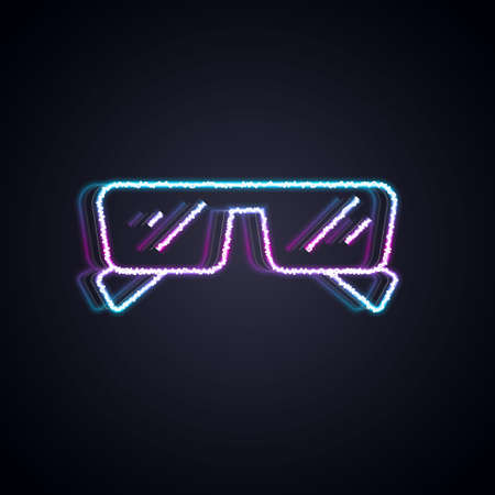 Glowing neon line Glasses icon isolated on black background. Eyeglass frame symbol. Vector 矢量图像
