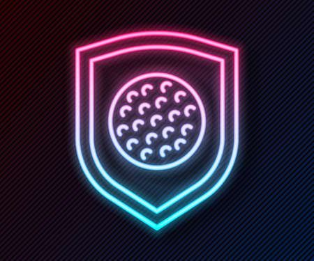 Glowing neon line Golf ball with shield icon isolated on black background. Vector