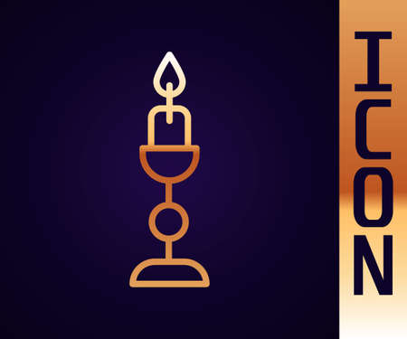 Gold line Burning candle in candlestick icon isolated on black background. Old fashioned lit candle. Cylindrical candle stick with burning flame. Vector