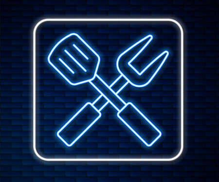 Glowing neon line Crossed fork and spatula icon isolated on brick wall background. BBQ fork and spatula sign. Barbecue and grill tools. Vector