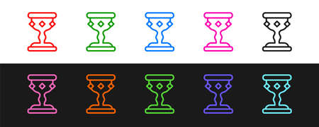 Set line Medieval goblet icon isolated on black and white background. Vector 矢量图像