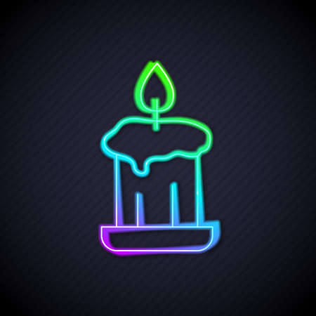 Glowing neon line Burning candle in candlestick icon isolated on black background. Old fashioned lit candle. Cylindrical candle stick with burning flame. Vector