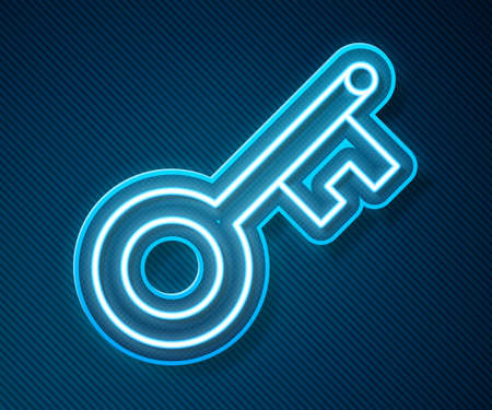 Glowing neon line Old key icon isolated on blue background. Vector