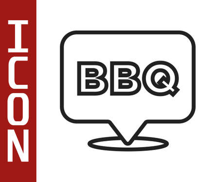 Black line Barbecue icon isolated on white background. Heat symbol. BBQ grill party. Vector