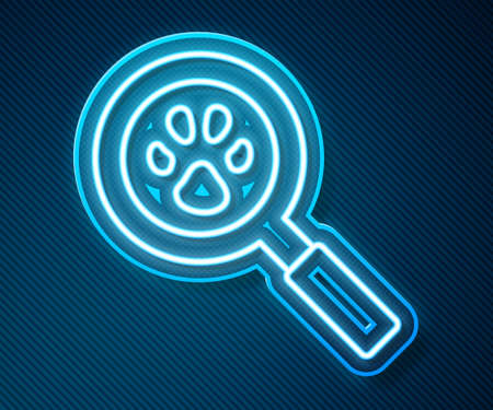 Glowing neon line Paw search icon isolated on blue background. Magnifying glass with animal footprints. Vector 矢量图像