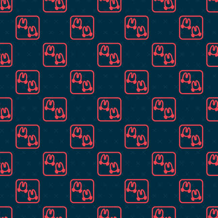 Red line Wild boar paw footprint icon isolated seamless pattern on black background. Vector