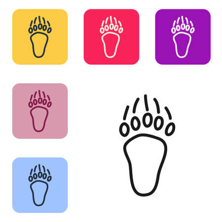 Black line Bear paw footprint icon isolated on white background. Set icons in color square buttons. Vector
