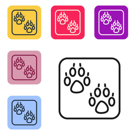 Black line Paw print icon isolated on white background. Dog or cat paw print. Animal track. Set icons in color square buttons. Vector