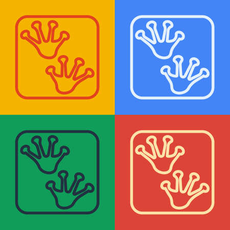 Pop art line Frog paw footprint icon isolated on color background. Vector