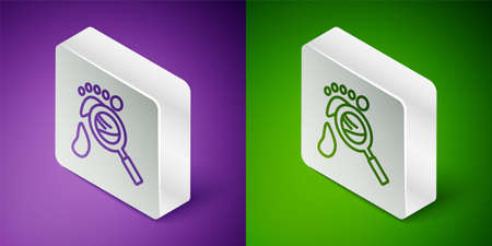 Isometric line Magnifying glass with footsteps icon isolated on purple and green background. Detective is investigating. To follow in the footsteps. Silver square button. Vector