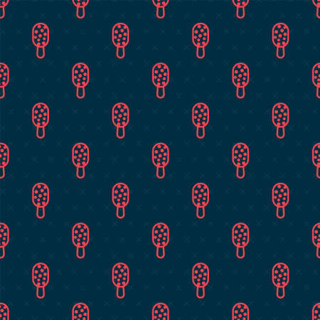 Red line Ice cream on stick icon isolated seamless pattern on black background. Sweet symbol. Vector