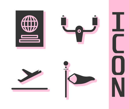 Set Cone meteorology windsock wind vane, Passport, Plane takeoff and Aircraft steering helm icon. Vector