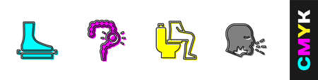 Set Flat foot, Gut constipation, Constipation and Man coughing icon. Vector