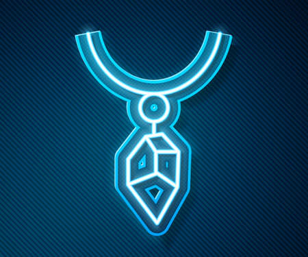 Glowing neon line Necklace with crystal icon isolated on blue background. Vector
