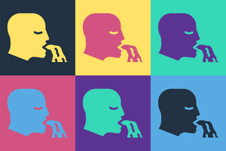 Pop art Vomiting man icon isolated on color background. Symptom of disease, problem with health. Nausea, food poisoning, alcohol poisoning concept. Vector