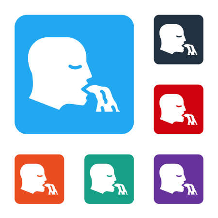 White Vomiting man icon isolated on white background. Symptom of disease, problem with health. Nausea, food poisoning, alcohol poisoning concept. Set icons in color square buttons. Vector