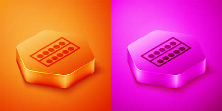 Isometric Billiard balls on a stand icon isolated on orange and pink background. Billiard balls on a shelf. Hexagon button. Vector