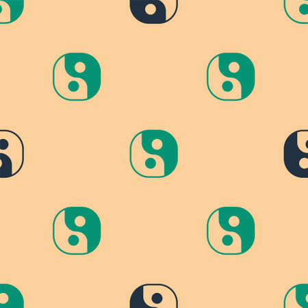 Green and black Yin Yang symbol of harmony and balance icon isolated seamless pattern on beige background. Vector